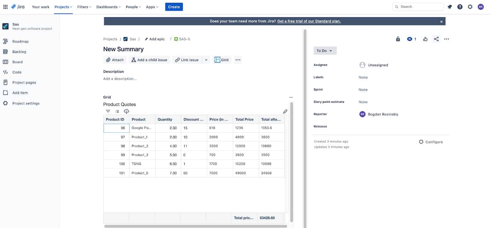 view grid on Jira issue