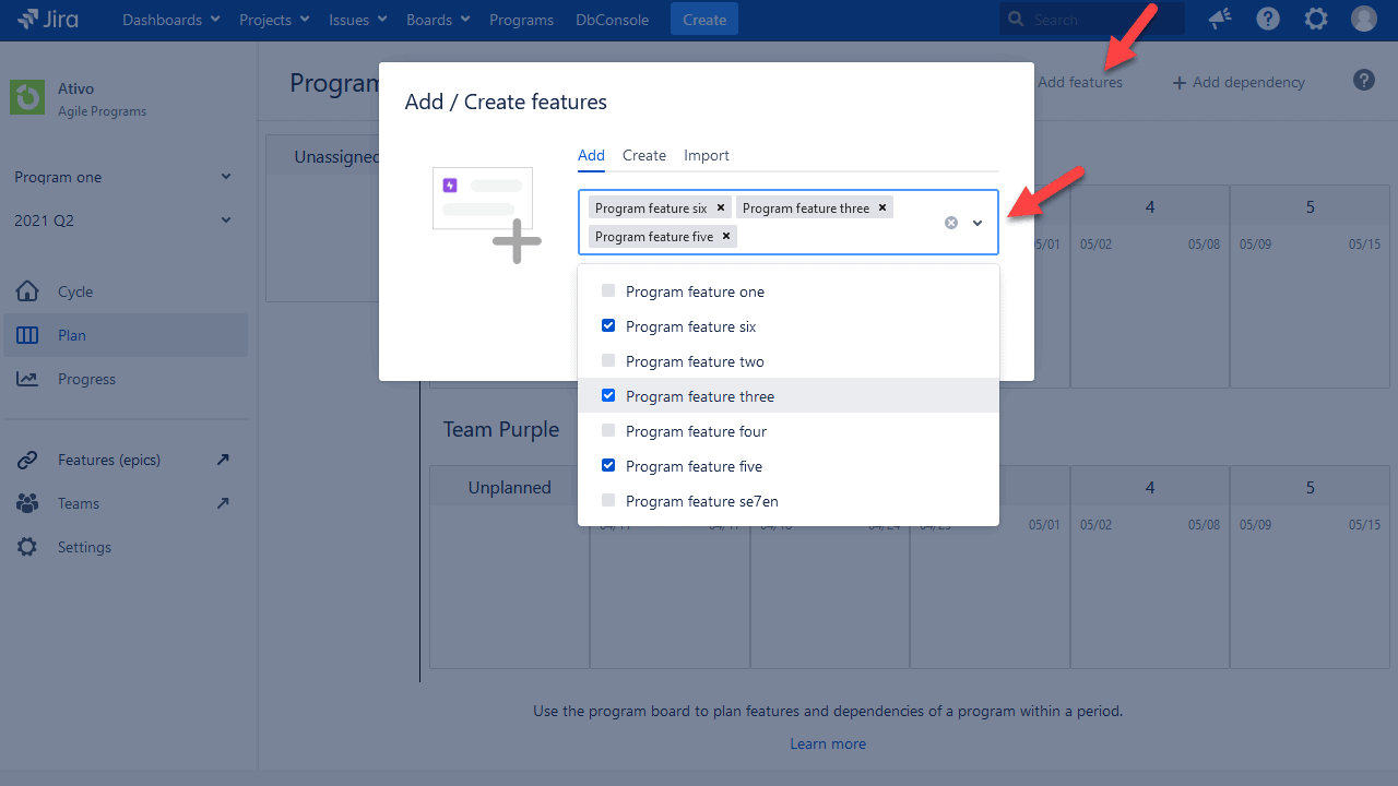 create features in jira safe