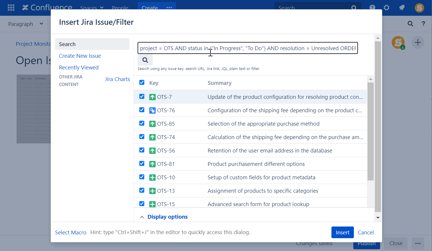 insert jira issue in confluence