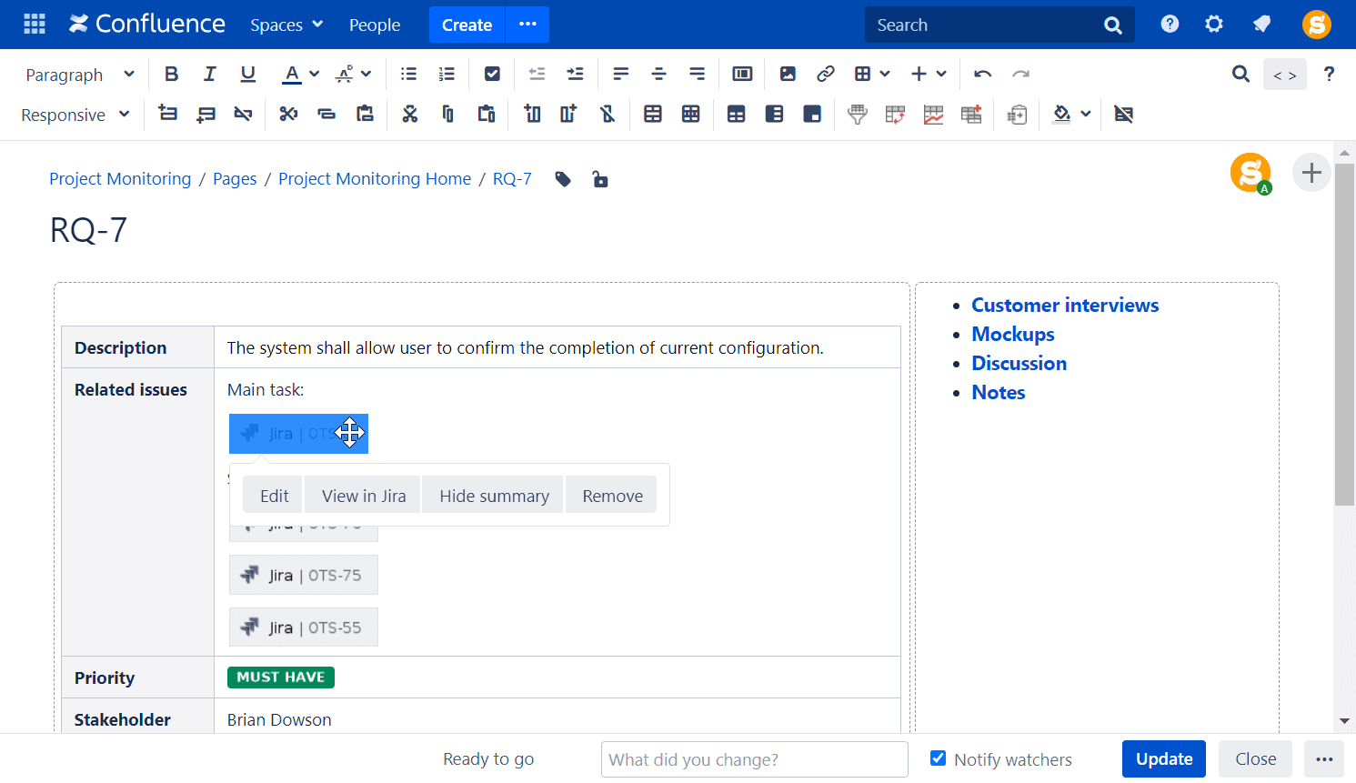 single jira issue in confluence
