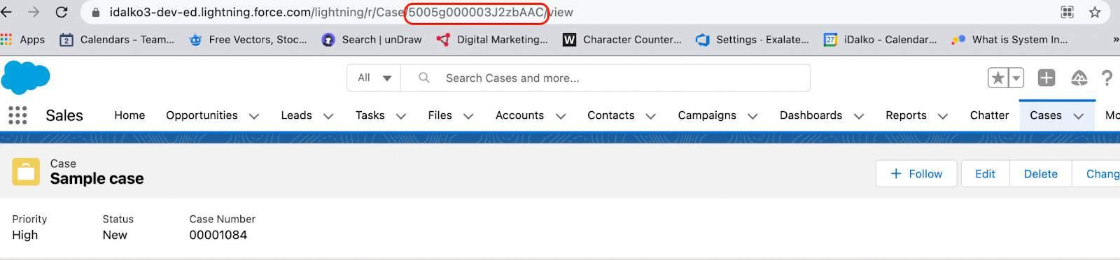 Salesforce case number