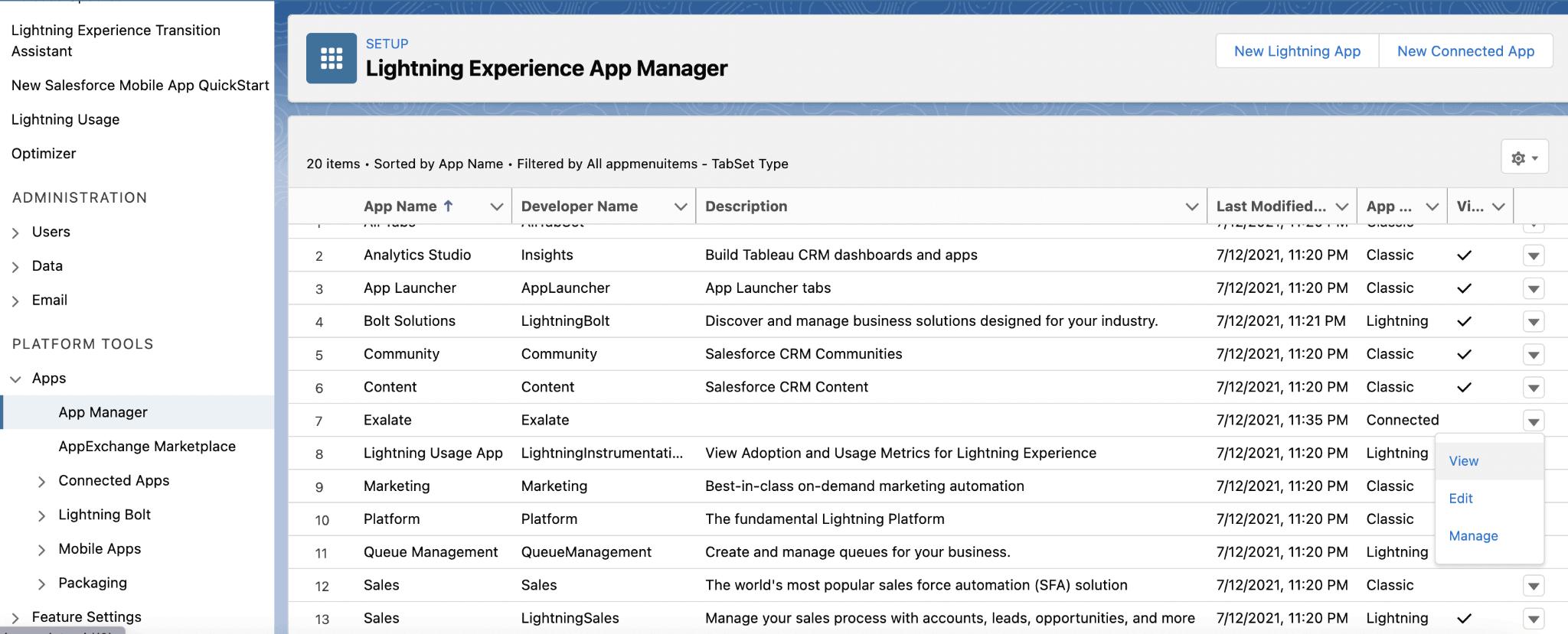 Salesforce Lightening app manager