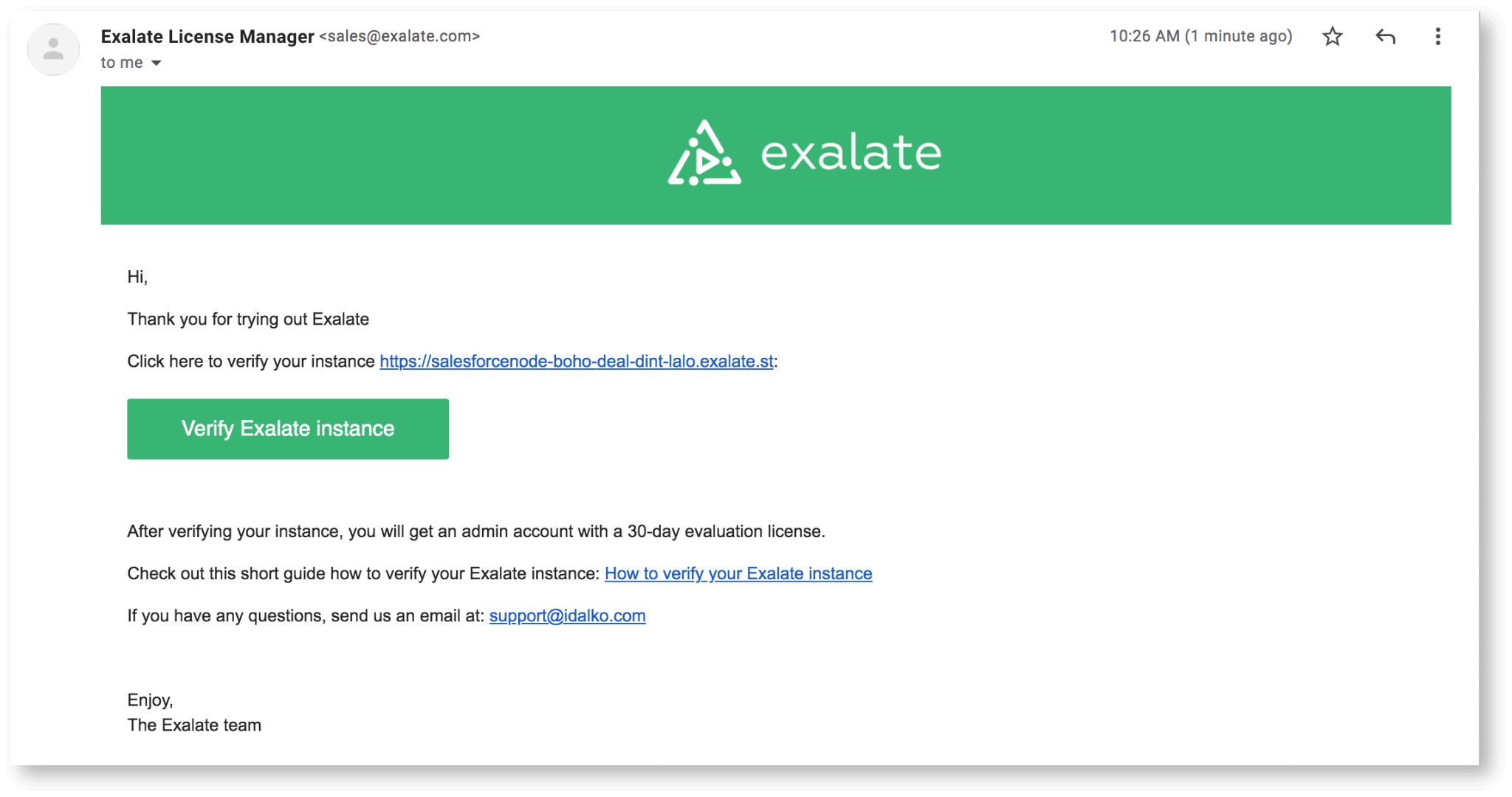 Verify Exalate instance for Jira Salesforce sync
