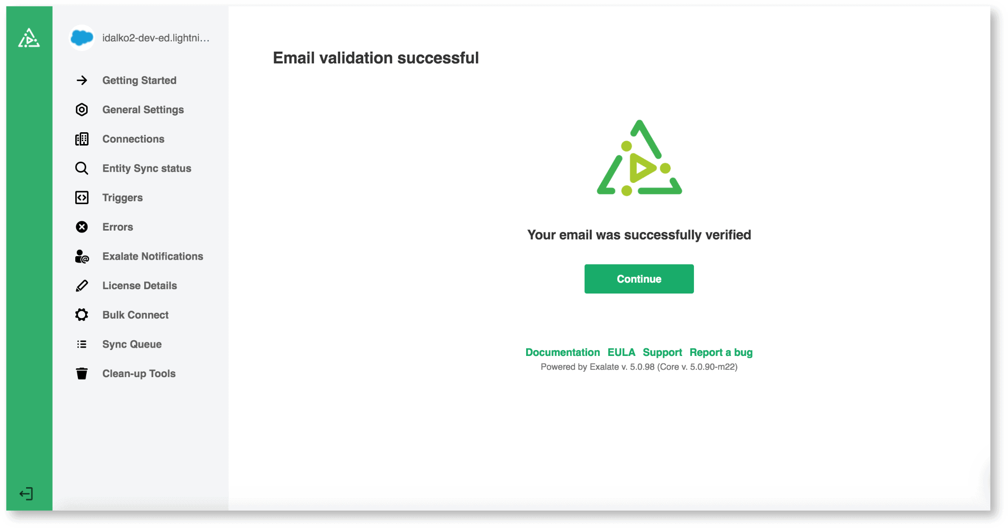 Email verification successful for Jira Salesforce sync