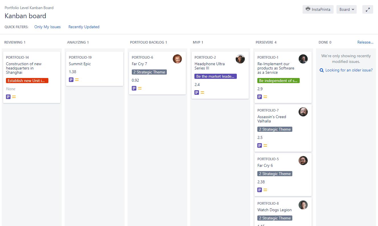 Portfolio Kanban Board in Agile Hive